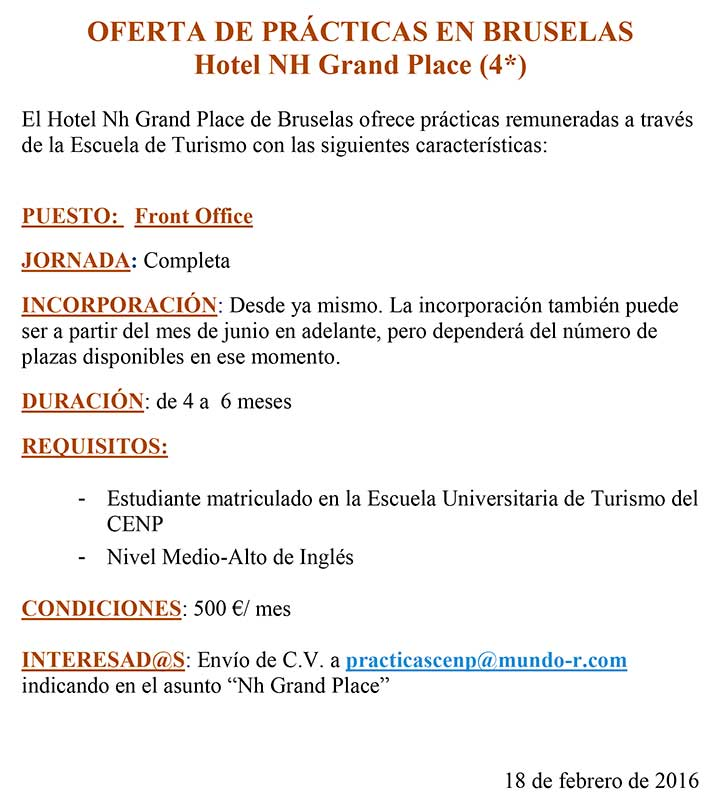 OFERTA PRACTICAS NH GRAND PLACE