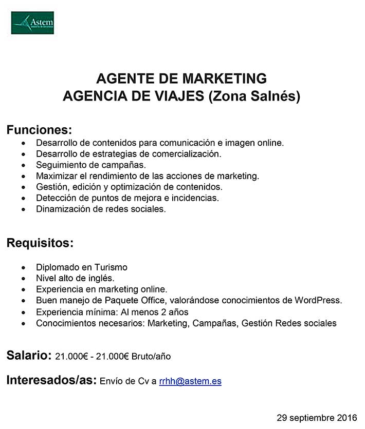AGENTE DE MARKETING AGENCIA DE VIAJES (Zona Salnés)